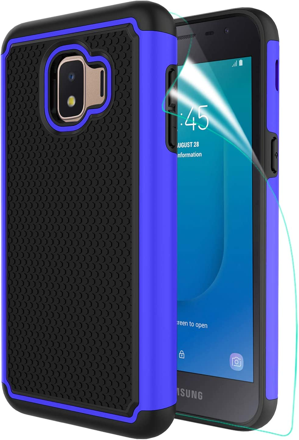 Innge for Samsung Galaxy J2 Case,J2 Core Case,Galaxy J2 Dash/Galaxy J2 Pure/J2 Shine/J260 Case with Screen Protector,[Shockproof][Anti-Scratch] Dual Layer Armor Defender Protective Case Cover,Blue