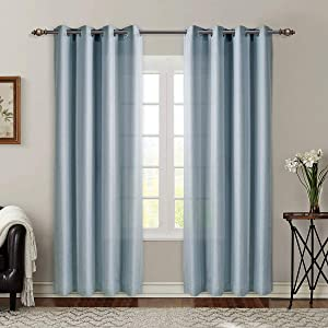 SINGINGLORY Blue Semi Sheer Curtains , 52 x 84 Linen Textured Grommet Panels for Living Room, Bedroom (2 Panels, Duck Egg Blue)