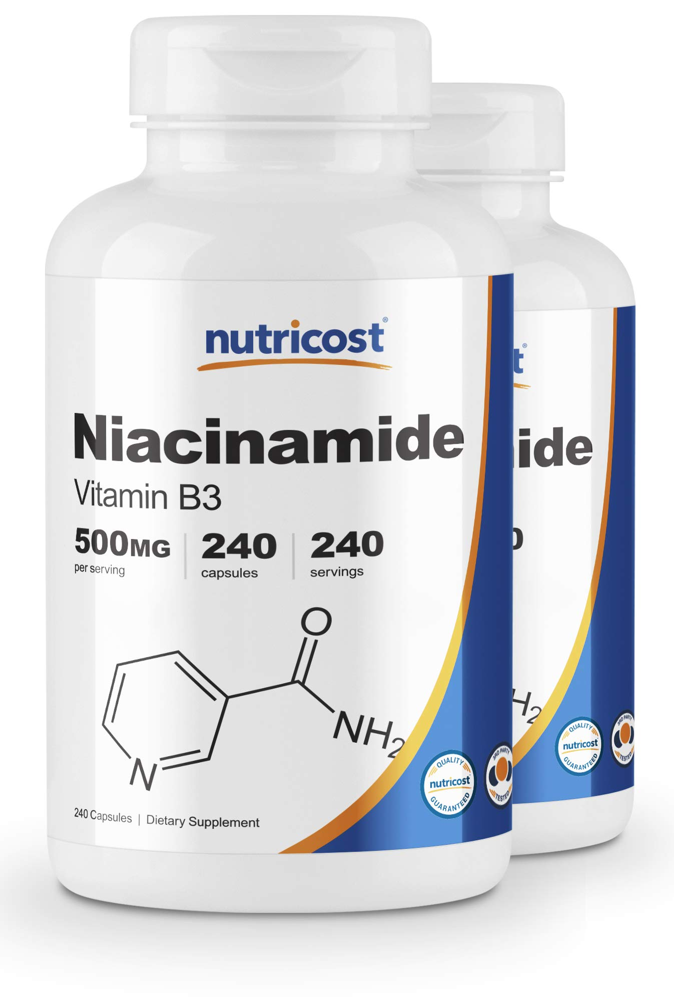 Nutricost Niacinamide (Vitamin B3) 500mg, 240 Capsules (2 Bottles) by Nutricost