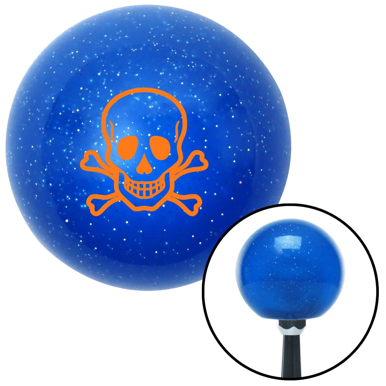 American Shifter 19622 Blue Metal Flake Shift Knob Orange Skull n Cross Bones