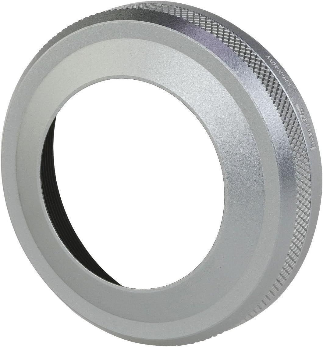 Haoge LH-X49W 2in1 All Metal Ultra-Thin Lens Hood with Adapter Ring Set for Fuji Fujifilm FinePix X70 X100 X100S X100T X100F Silver Replaces Fujifilm LH-X100 AR-X100 LH-X70