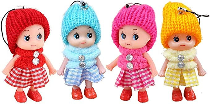 Windup 4 Cute Mini Soft Toy Dolls for Keychain and Mobile Phone - Multicolour - 9CM - Set of 4