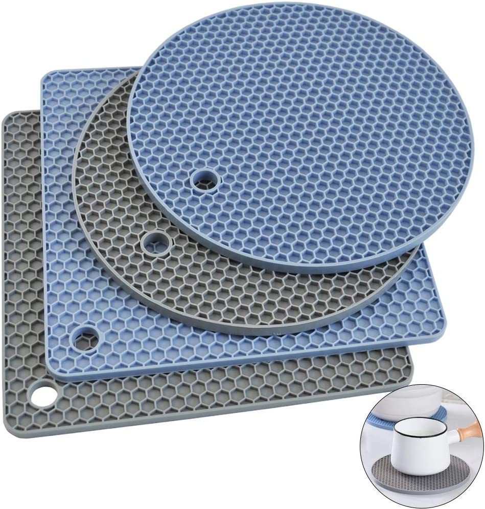 Silicone Trivet Mats, Silicone Pot Holders for Hot Pan and Pot Pads. Heat Resistant Counter Mats for Tables, Countertops, Spoon Rest and Large Coasters, 4 Pack Gray& Blue(2 Squared + 2 Round Mats)