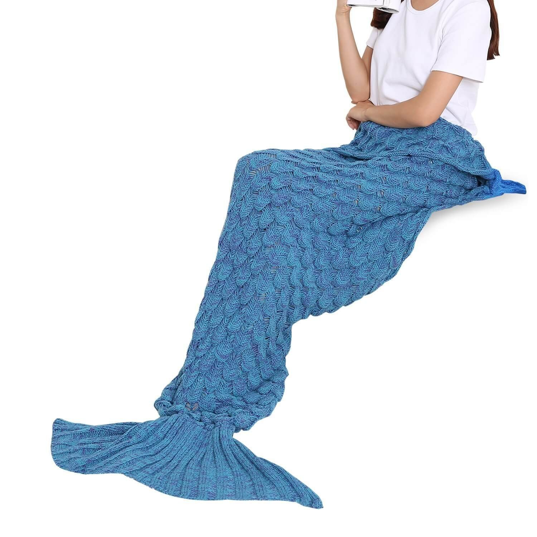 Winter Warm Handmade Crochet Knitted Mermaid Tail Blanket SinSany