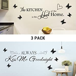 Taciwaz 3 Pack Wall Stickers, Removable Quote Wall Decals with 3D Butterfly for Kitchen and Bedroom Decoration Vinyl Home Decor
