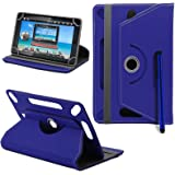 BTC Flame 7 Inch Tablet New Design Universal 360 degree Rotating PU Leather Designer Colourful Stand Case Cover - Plain Blue by Gadget Giant®