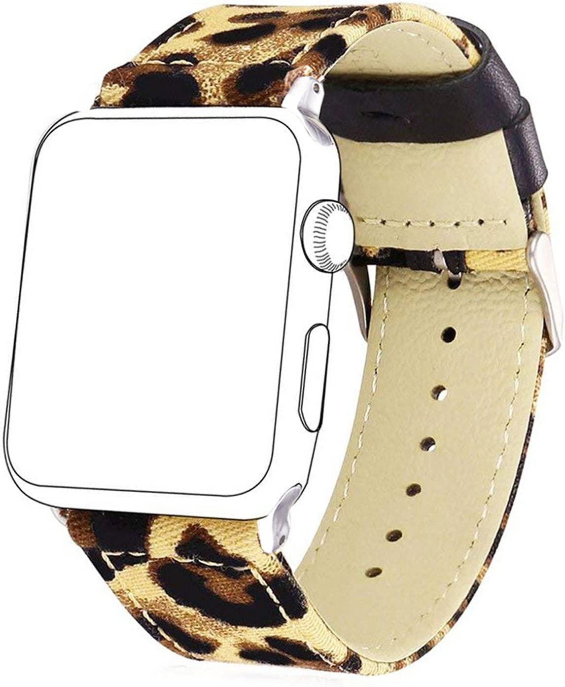Bandmax Fabric Replacement Strap Compatible Apple Watch,Stainless Steel Metal Buckle Comfortable Denim Fabric Watch Band Compatible iwatch Series 5/4/3/2/1 All Version(Leopard Pattern 38MM/40MM)