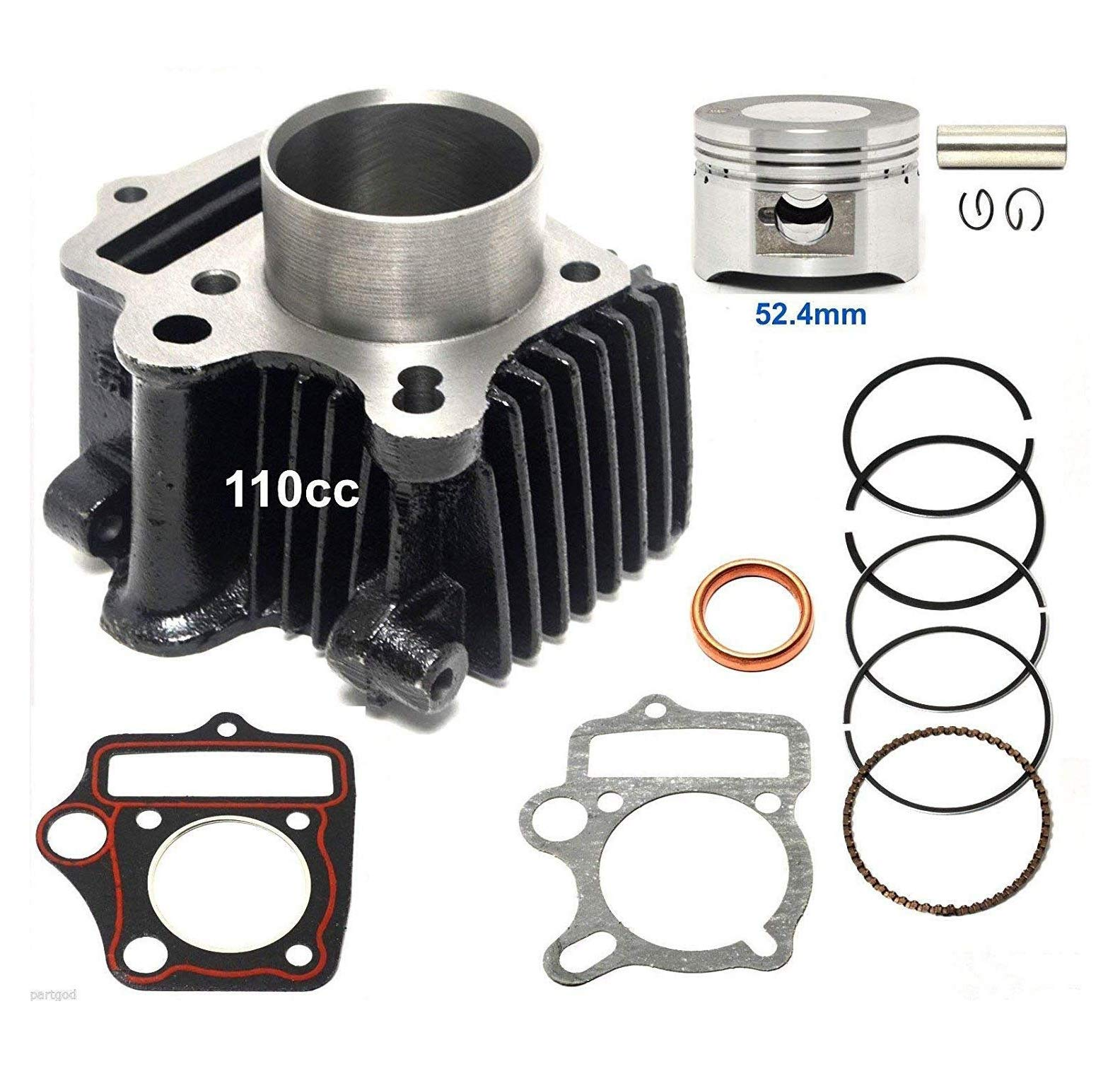 110cc Cylinder kit Piston Rings set compatible with TaoTao: BoulderB1, ATA 110 D/D1, ATA 125 D, ATA 125 F1, DB 14, DB 10, ATK 125 A, Jeep Auto, ATA 110 B/B1, ATA 135 DU, and NEW TFORCE by WhatApart