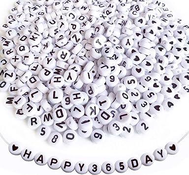 Lnvision 1200 St/ück Schwarz Acryl Weiss Alphabet Rund Buchstaben Spacer Perlen 7x4mm Spacer Zwischenperlen Schmuck DIY Basteln A bis Z