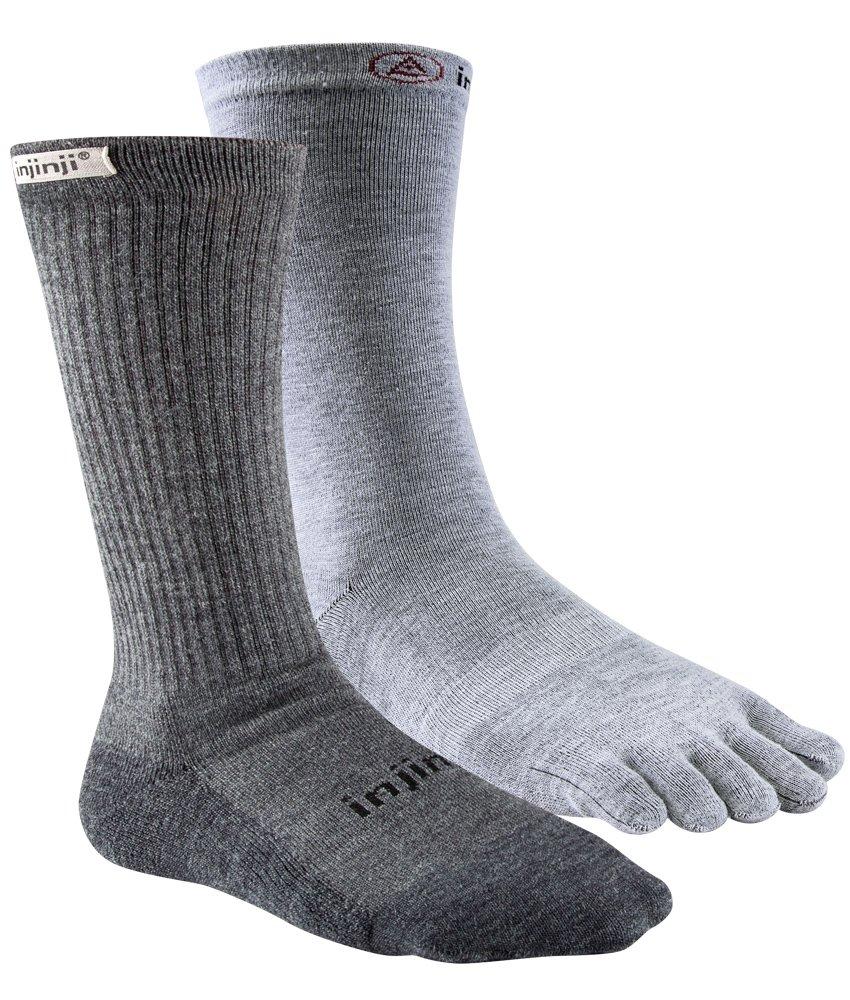 Injinji Women's Liner + Hiker Crew Socks (Medium/Large, Charcoal) by Injinji