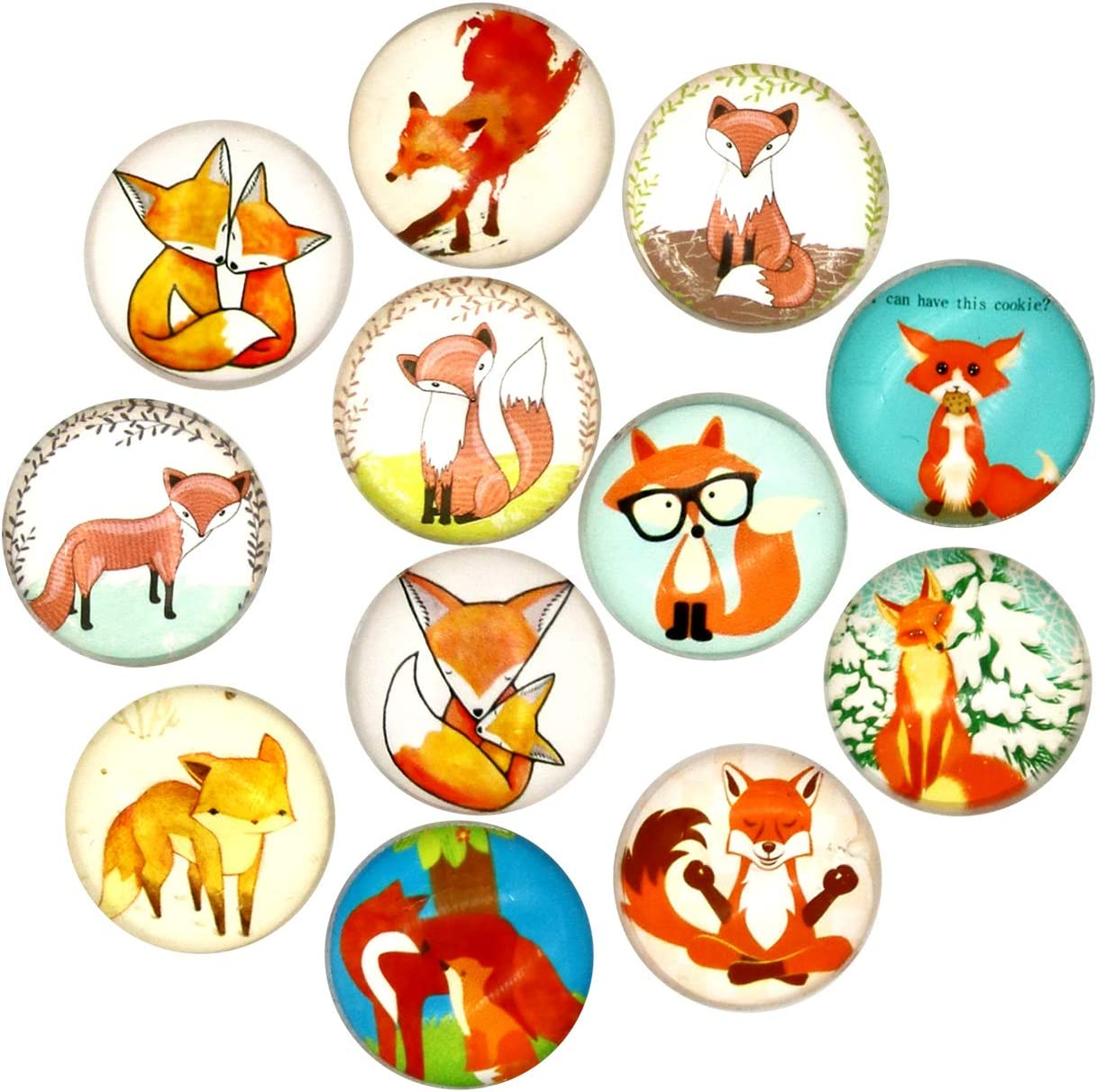 12pcs Fox Refrigerator Magnets, Cosylove Crystal Glass Fridge Magnets for Office Cabinets, Whiteboards, Photos, Beautiful Decorative Magnets for Holiday Gift, Decorate Home (Fox)