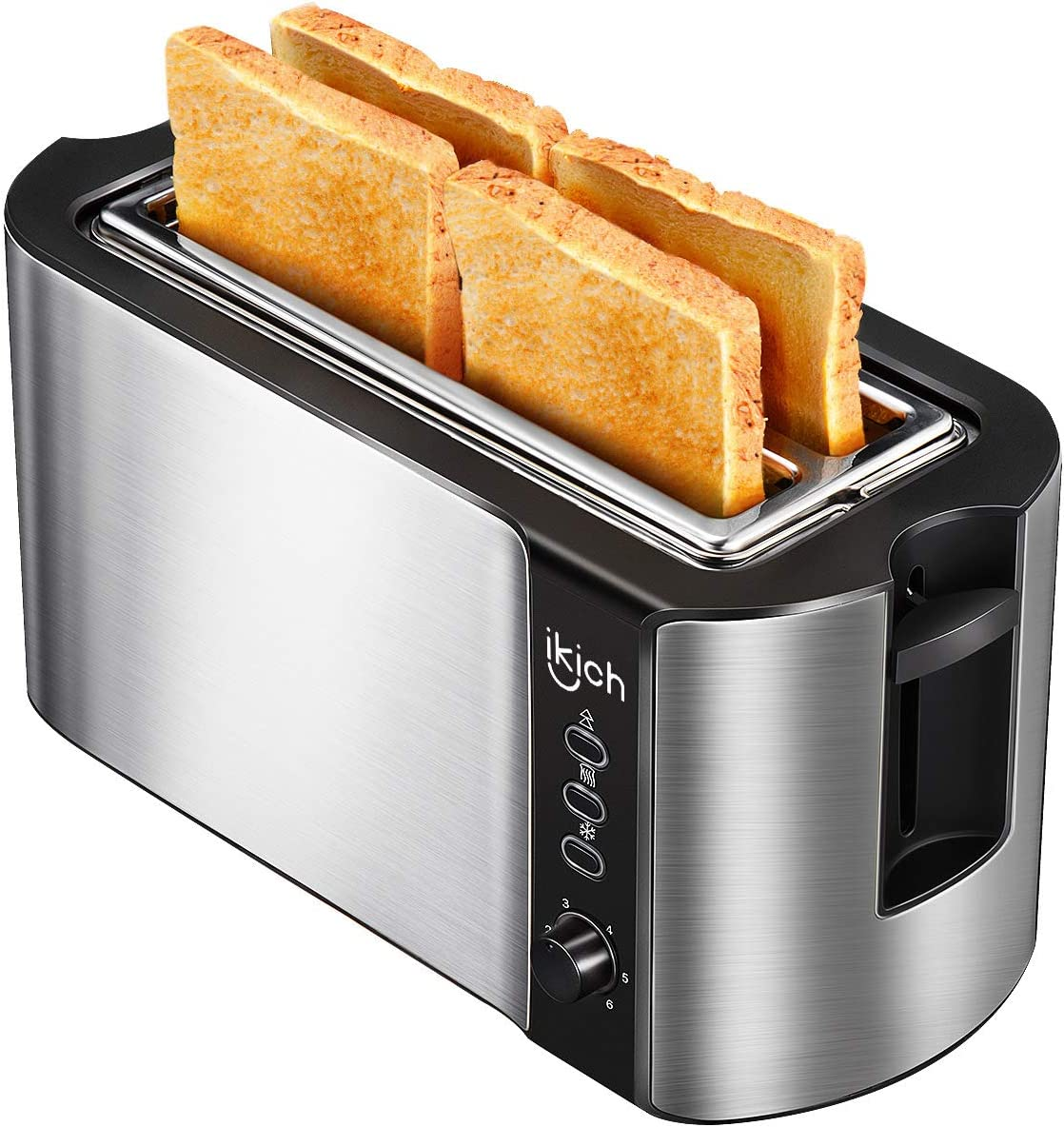 IKICH 4 Slice Long Slot Toaster Best Rated Prime, Stainless Steel Bread Toasters Warming Rack, 6 Bread Shade Settings, Defrost Reheat Cancel Function, Extra Wide Slots, Removable Crumb Tray, 1300W