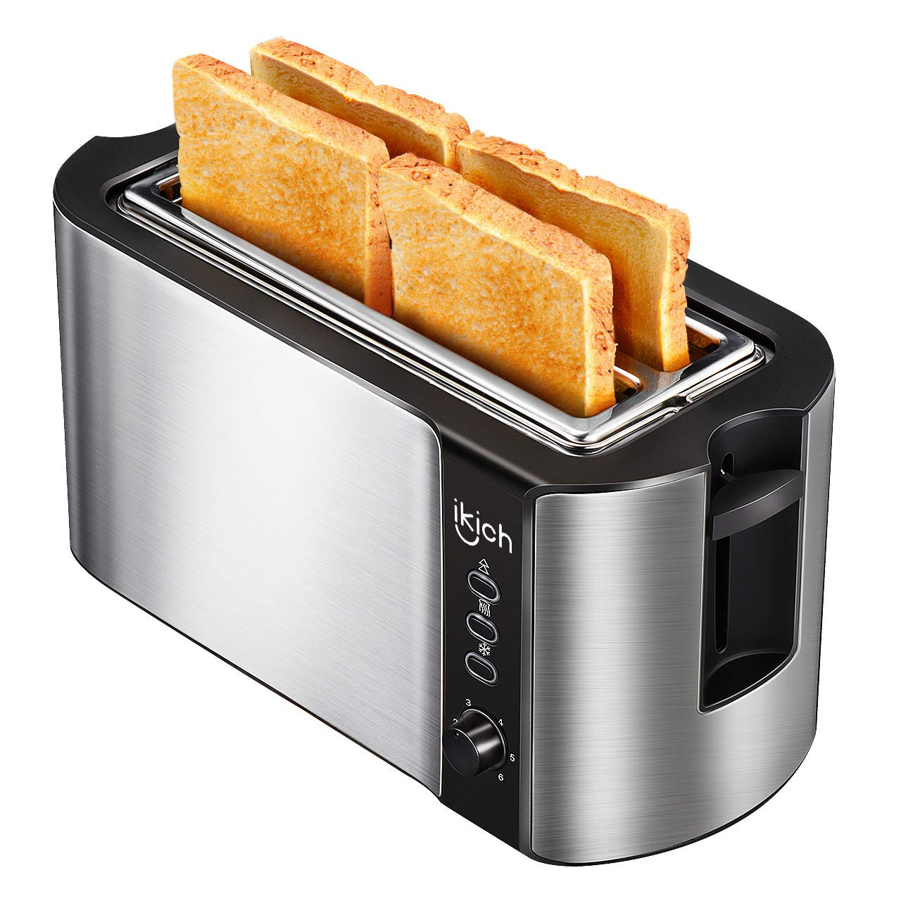 IKICH 4 Slice Long Slot Toaster Best Rated Prime, Stainless Steel Bread Toasters(Warming Rack, 6 Bread Shade Settings, Defrost/Reheat/Cancel Function, Extra Wide Slots, Removable Crumb Tray, 1500W)