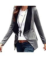 Minetom Mujer Casual Manga Larga Cardigan Top Coat Blazer Jacket Outwear Blusa Traje