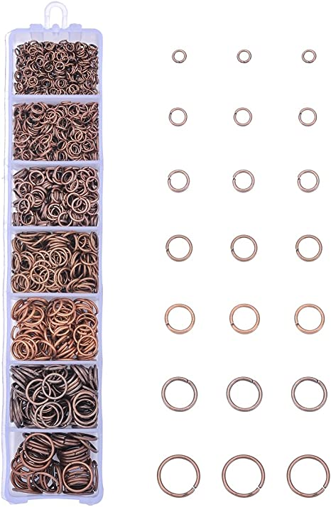 HooAMI 1450pcs Gold Plated Alloy Open Jump Rings Box Set 3mm-10mm