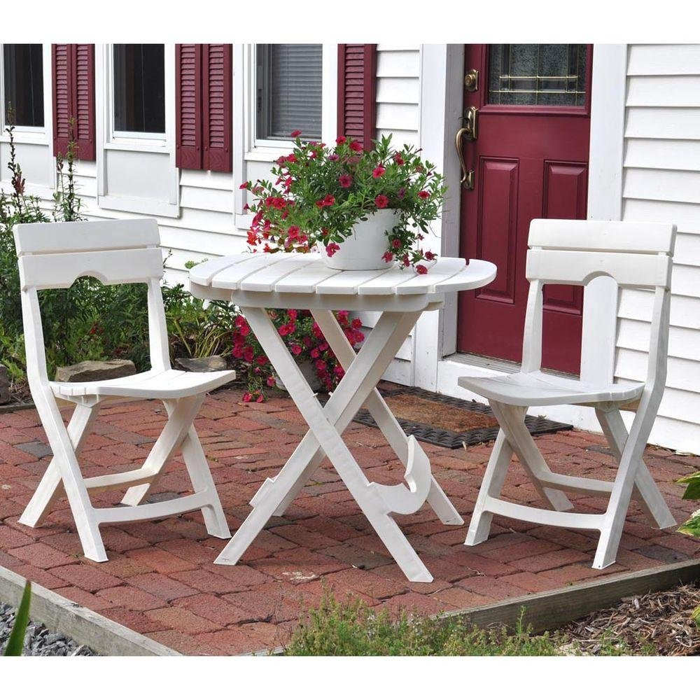 Adams Manufacturing Weather Resistant Lightweight Durable Resin Comfortable Sturdy Outdoor Recreation Quik-Fold 3-Piece Patio Cafe Bistro Set (White) by Adams Manufacturing