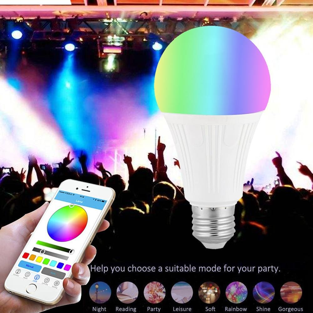 Teepao Wifi Bulb Dimmable, Multicolor Voice Controlled Light Smart Led Bulb Including 16 Million Color Light Work with Amazon Echoã€Echo Dotã€Amazon Tap(50w Equivalent,18 Led Light Beads) by Teepao (Image #5)