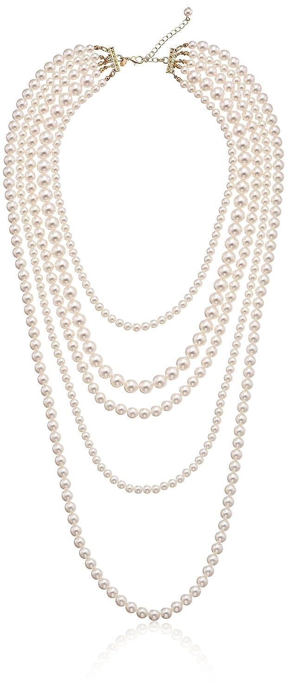 Amazon: Goldtone Cream Color Pearl Multistrand Necklace, 34