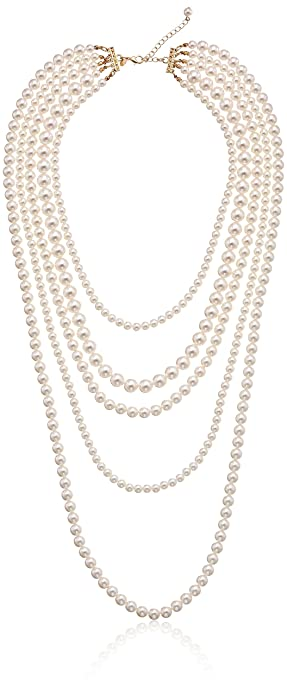 layered faux pearl necklace coco Chanel style