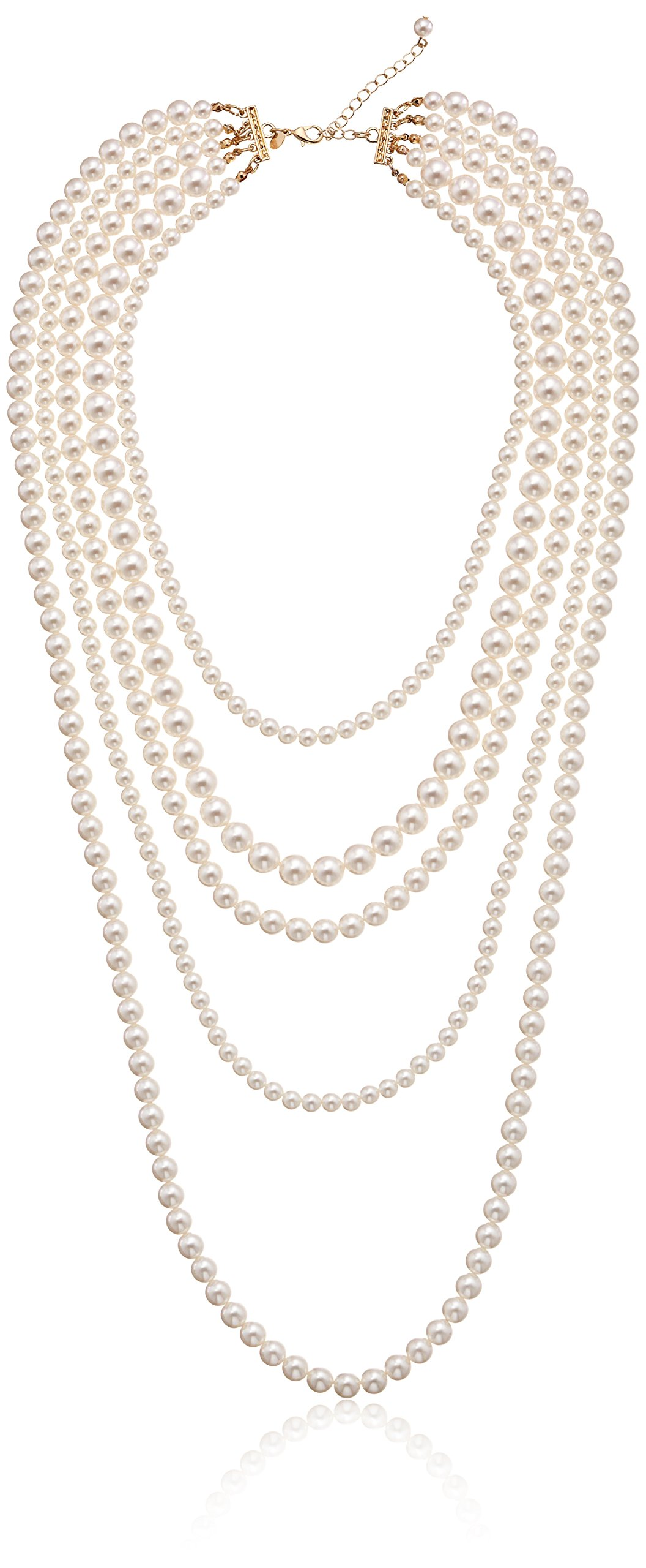 Gold-Tone Cream Color Pearl Multi-Strand Necklace, 34''+2'' by Amazon Collection (Image #1)