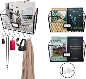 Urban Deco File Storage Holder-3 Pack Wall Mounted Hanging Files Organizer with Metal Chicken Wire-Crate Holders for Magazines, Desktop Files, Letters.
