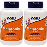 NOW Foods Melatonin 5mg Vcaps, 180 Capsules (Pack of 2)