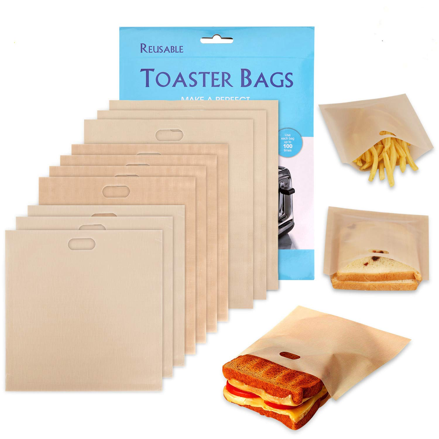 Non-Stick Reusable Toaster Bags - Samshow 10 Pack Toaster Bags for Sandwiches,Chicken,Nuggets,Panini and Garlic Toasts