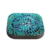 "Kess InHouse Sylvia Cook ""Circular"" Coasters, 4 by 4-Inch, Teal/Blue, Set of 4"
