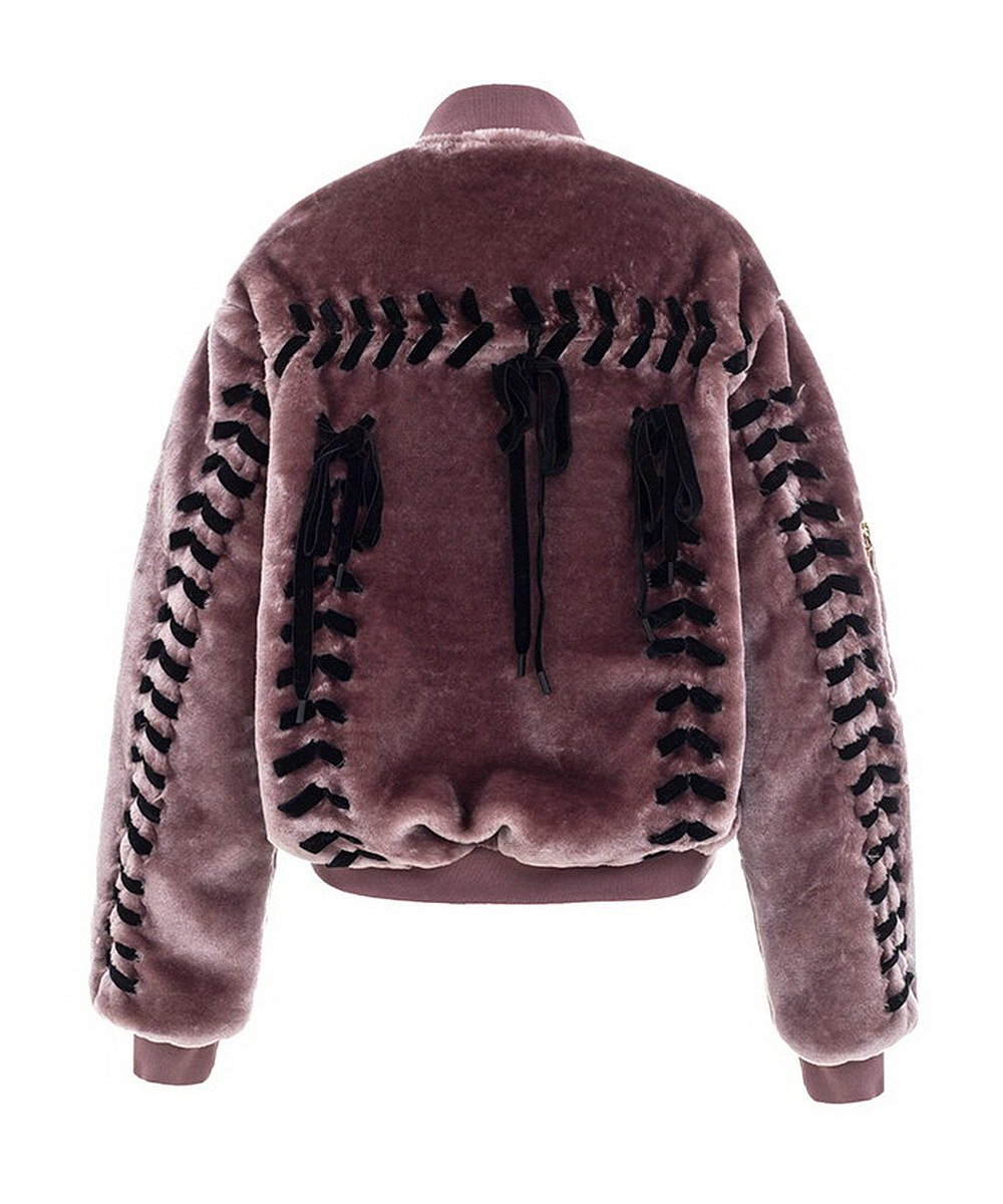 Get The Looks Faux Fur Lace-up Back Bomber Jacket (Small)
