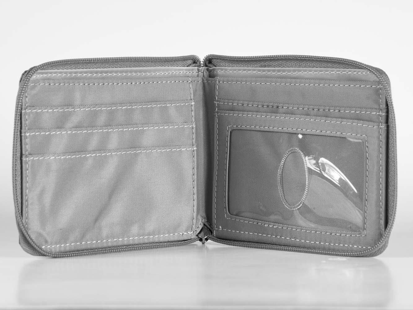 Big Skinny Mens Zippered Bi-Fold Slim Wallet, Holds Up to ...