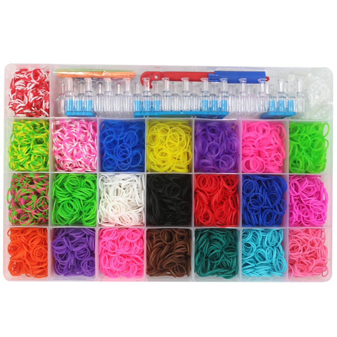 4400Pcs Colorful Rubber Band Refill Kit for Loom Rainbow Bracelets Dress Making Bluewo