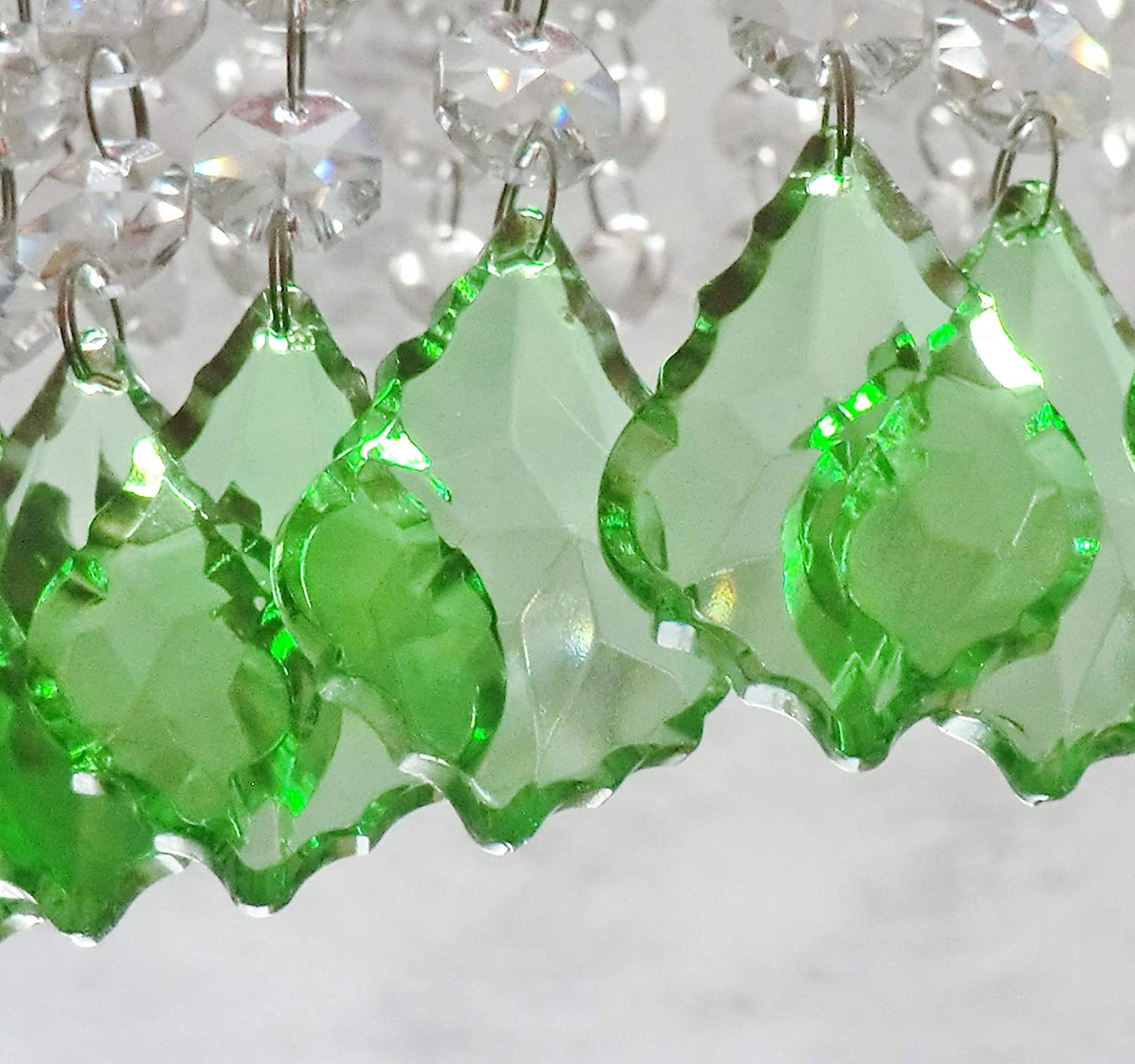 24 Sage Emerald Peacock Chandelier Drops Cut Glass Crystals Droplets Beads Christmas Tree Ornaments Decorations Prisms Art Deco Retro Beads