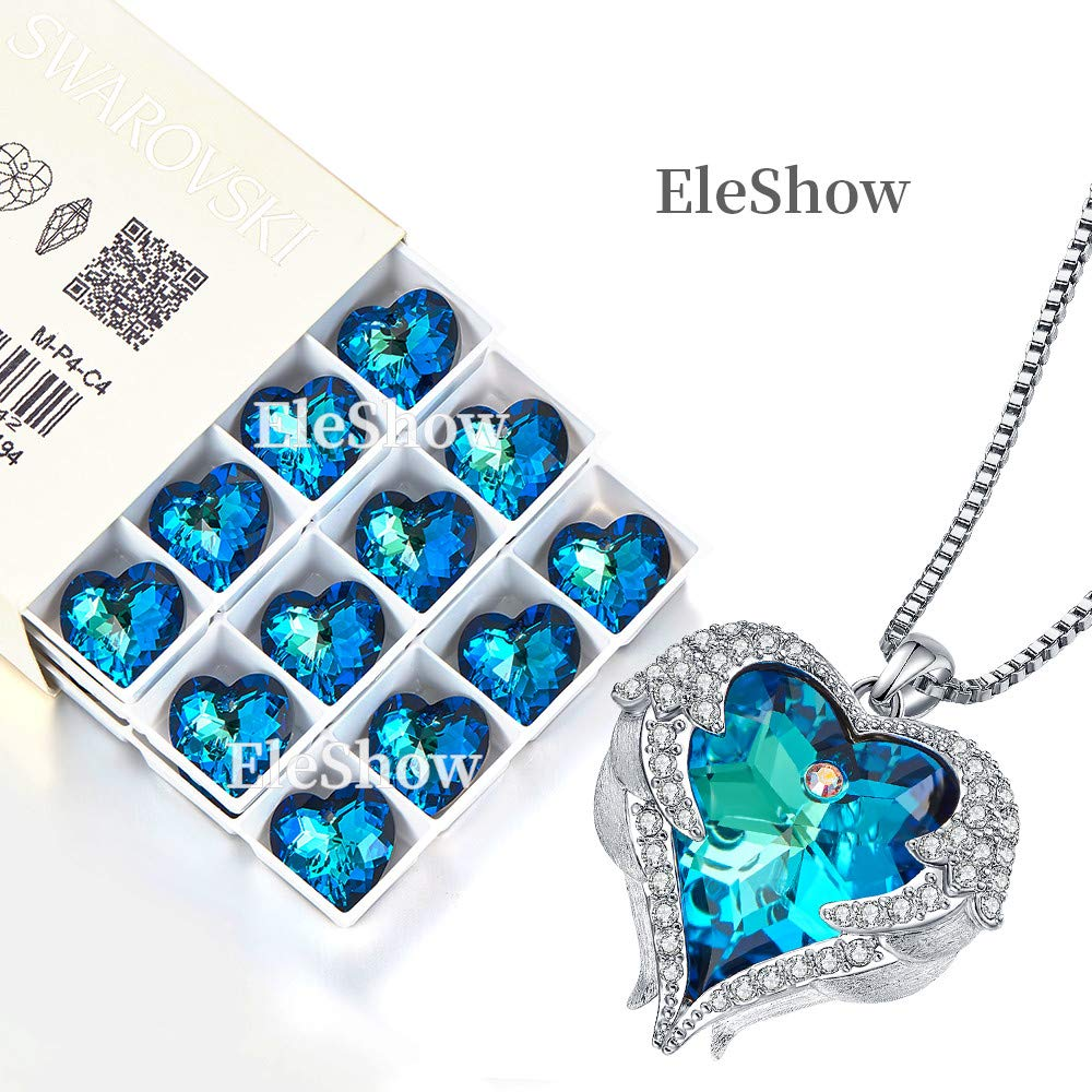 EleShow Love Heart Pendant Necklaces Gifts Jewelry for Women (B_Blue1) by EleShow (Image #4)