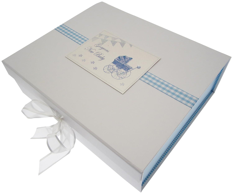 Blue Pram /& Bunting New Baby Large Keepsake Box