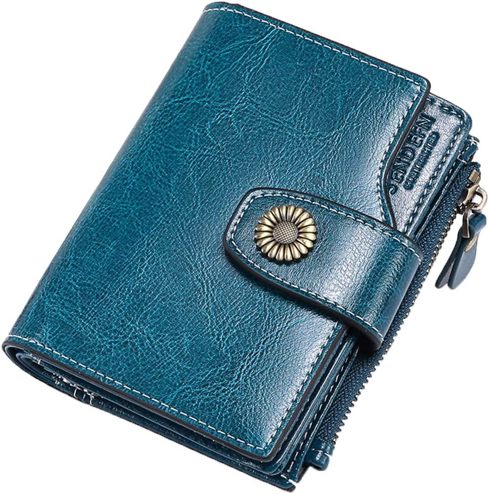 FALAN MULE RFID Blocking Short Wallet Women Small Wallet Genuine Leather Clutch Wallet with ID Window and Side Zipped Coin Pouch (Peacock Blue)