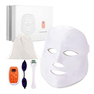 WIRELESS 7 Color LED Face Mask, DermRenew LED Photon Mask with 540 Titanium Micro Needle Derma Roller, Protective Eye Goggles and Carry Bag, Reusable Facial Skin Care Mask