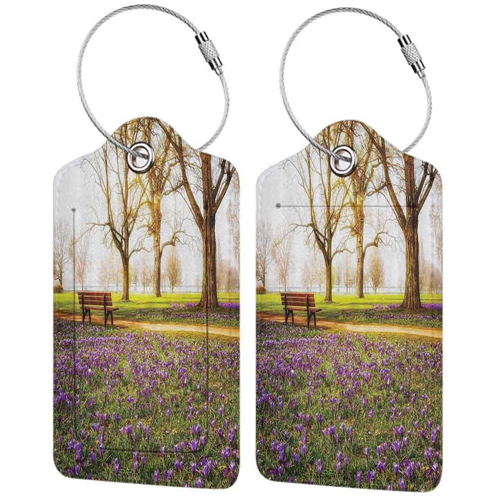 Multicolor luggage tag Farm House Decor Collection Violet Blooming Crocus Flowers in the Park with Trees and Benches Calm Zone Hanging on the suitcase Purple Green Brown W2.7 x L4.6