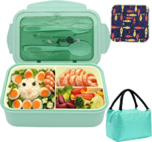 Bento Boxes Leakproof Food Containers for Kids& Adults,1400ML BPA-Free and Food-Safe Cute Meal Prep Lunch Box with Lunch Bag, Spoon & Fork 3 Compartment, Microwave Freezer Dishwasher Safe-Green Set
