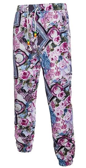 Fensajomon Mens Slim Fit Ethnic Floral Print Cotton Linen Casual