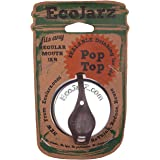Ecojarz: Small-Mouth Pop-top Sealable Drinking Jar Lid! Stainless Steel and Silicone. Non-plastic (Coffee)