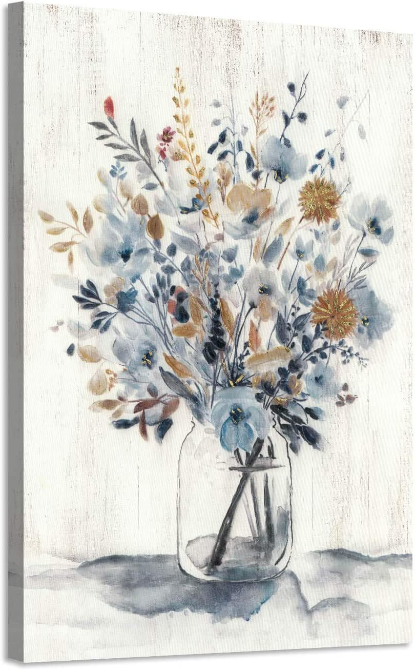 """Abstract Flower Bouquet Wall Art: Gray Blue Floral in Jar Painting Blossom Picture Prints on Canvas for Bedroom (24"""" x 36"""" x 1 Panel)"""
