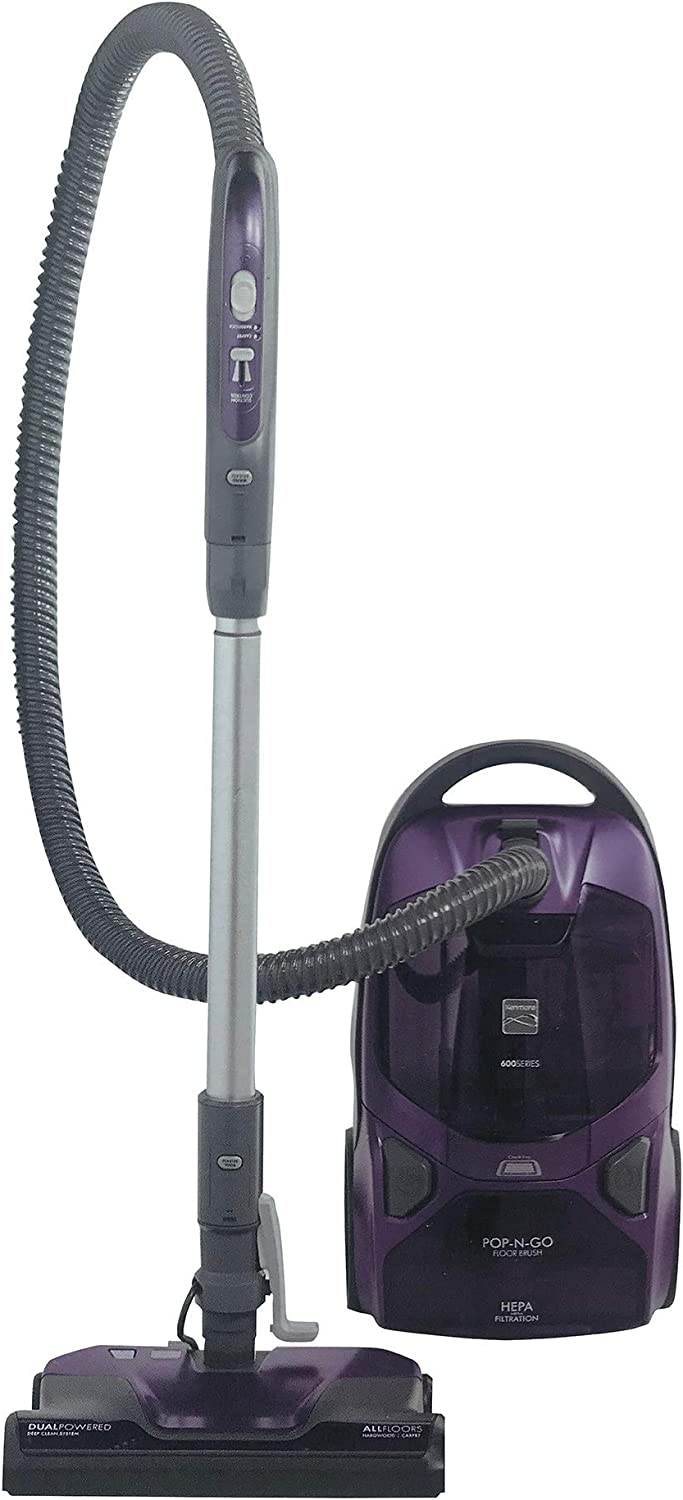 Kenmore 600 Series Lightweight Bagged Canister Vacuum with Pet PowerMate, Pop-N-Go Brush, 2 Motors, HEPA, Aluminum Telescoping Wand, Retractable Cord and and 3 Cleaning Tools, Purple (Renewed)