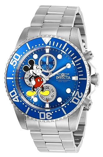 Invicta 27387 Disney Limited Edition Mickey Mouse Reloj para Hombre acero inoxidable Cuarzo Esfera azul: Amazon.es: Relojes