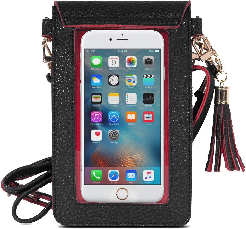 MoKo Pochette T/él/éphone Portable Noir Portefeuille Pochette Mini Sac /à Main Femmes avec Bandouli/ère,Jusqu/à 6.5 pour iPhone XS//XS Max//XR,Galaxy S10 e//S10//S10 Plus,Huawei P30//P30 Pro