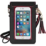 MoKo Cell Phone Bag, PU Leather Crossbody Bag Mini Phone Pouch Compatible for iPhone 11 Pro/11/Xs Max/XR/Xs/X, Samsung Galaxy Note 10/S10e/S10/S10 Plus, Google Pixel 3a/3a XL - Black + Red