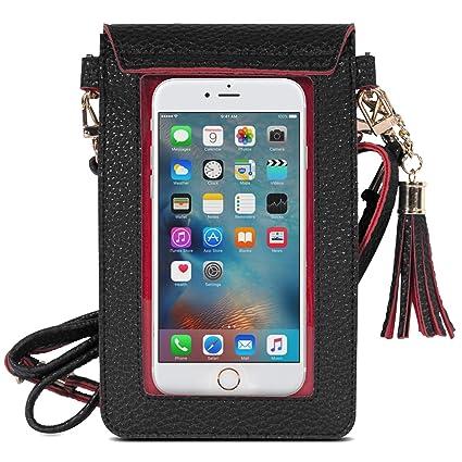 MoKo Touchscreen Handy Tasche Hülle - 2-in-1 PU Leder Wasserdichte Handtasche Schultertasche mit Straps für iPhone XS/Xs Max/
