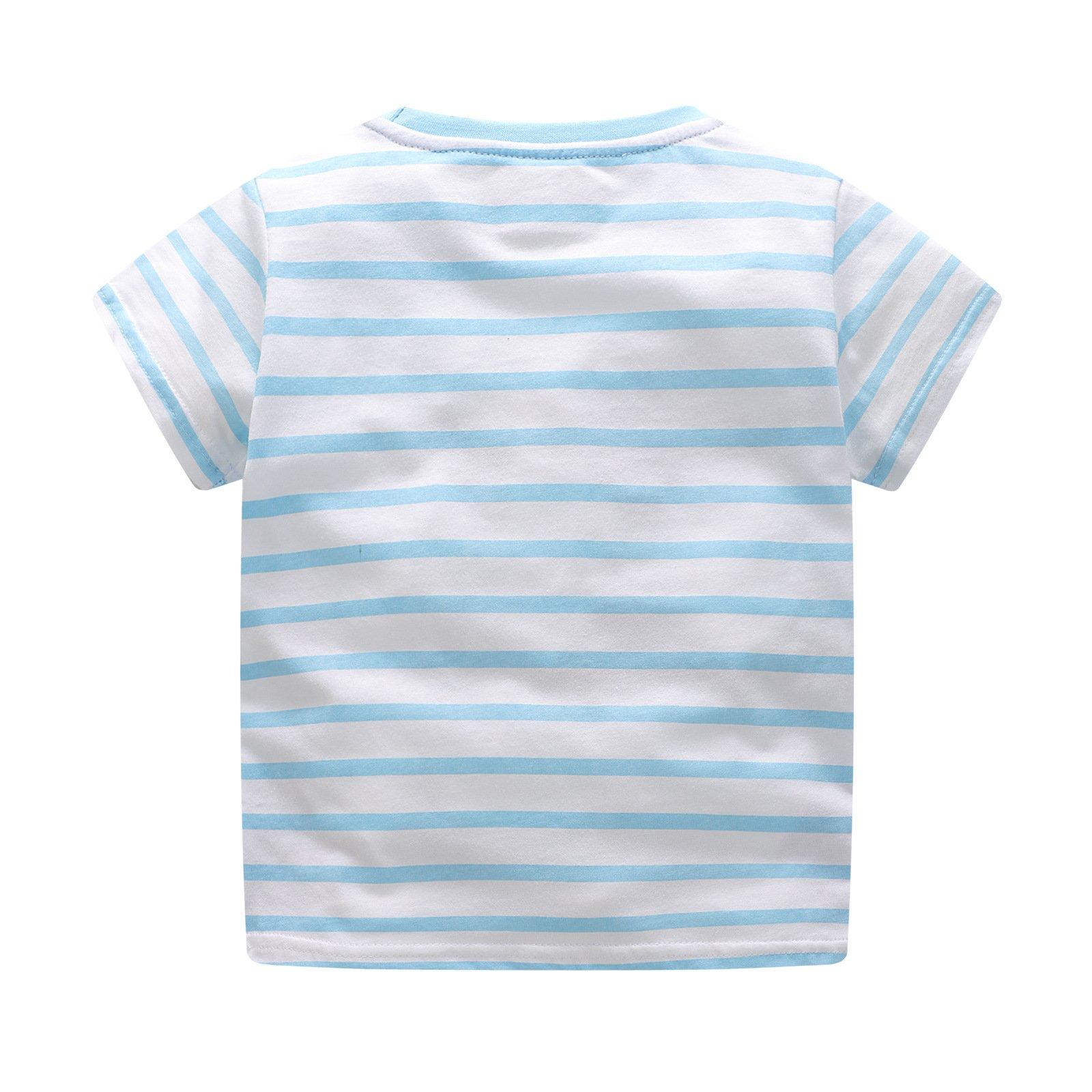 BEILEI CREATIONS Little Boys Summer Cotton Strip T Shirt,Summer Short Sleeve T-Shirt Clothes (18M-24M, Blue Ship) by BEILEI CREATIONS (Image #2)