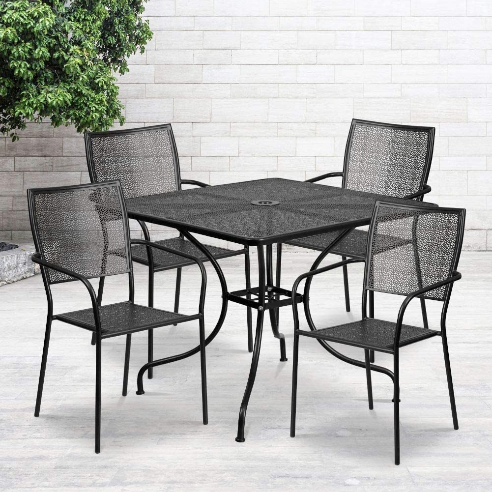 Flash Furniture 35.5 Square Gold Indoor-Outdoor Steel Patio Table Set with 4 Square Back Chairs