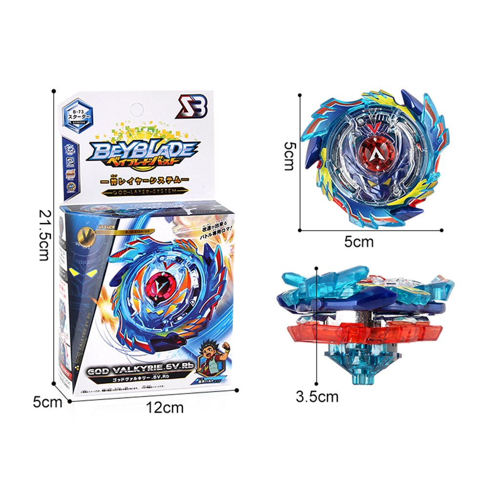 Baoblaze God Valkyrie.6V.Rb B-73 Starter Burst Spinning Top with Launcher Metal Rapidity Fight Master Children Toy Collection