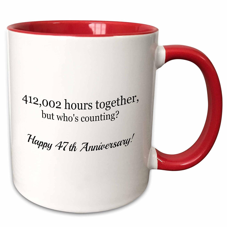 3dRose 224692/_5Happy 47Th Anniversary-412002 Hours Together Mug 11 oz Red mug/_224692/_5